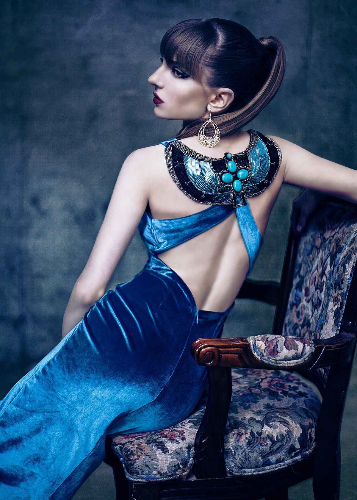 GRANDI couture teal velvet Egyptian embroidered open back gown