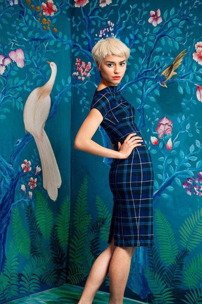 GRANDI blue tartan day dress