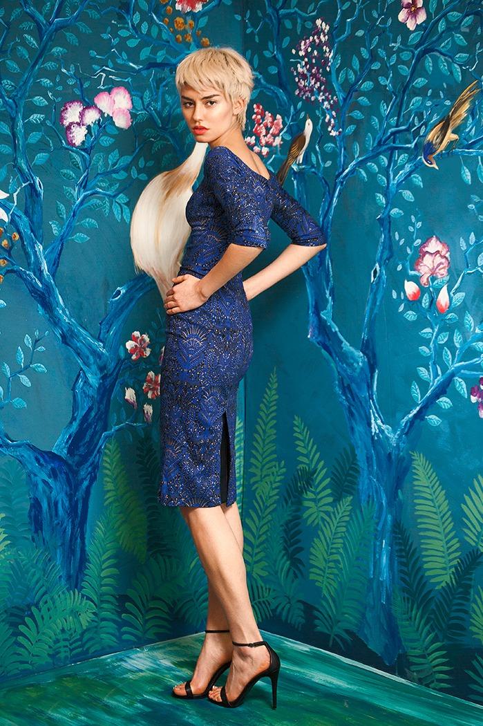 GRANDI tulip neckline blue print cocktail dress