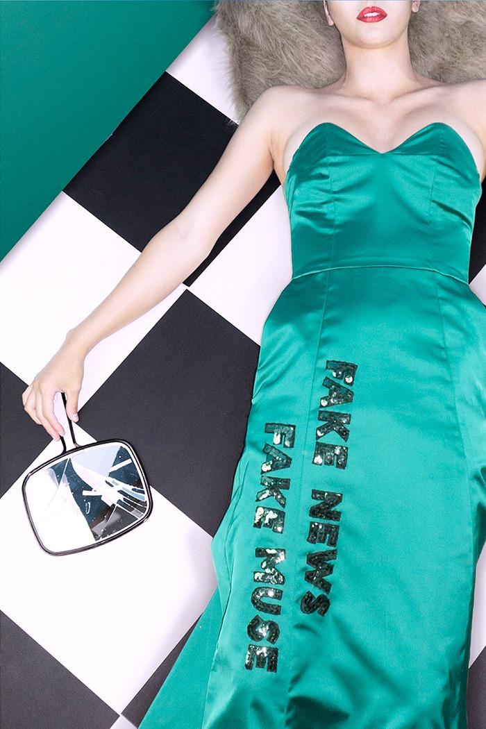 GRANDI green strapless dress fake news fake muse