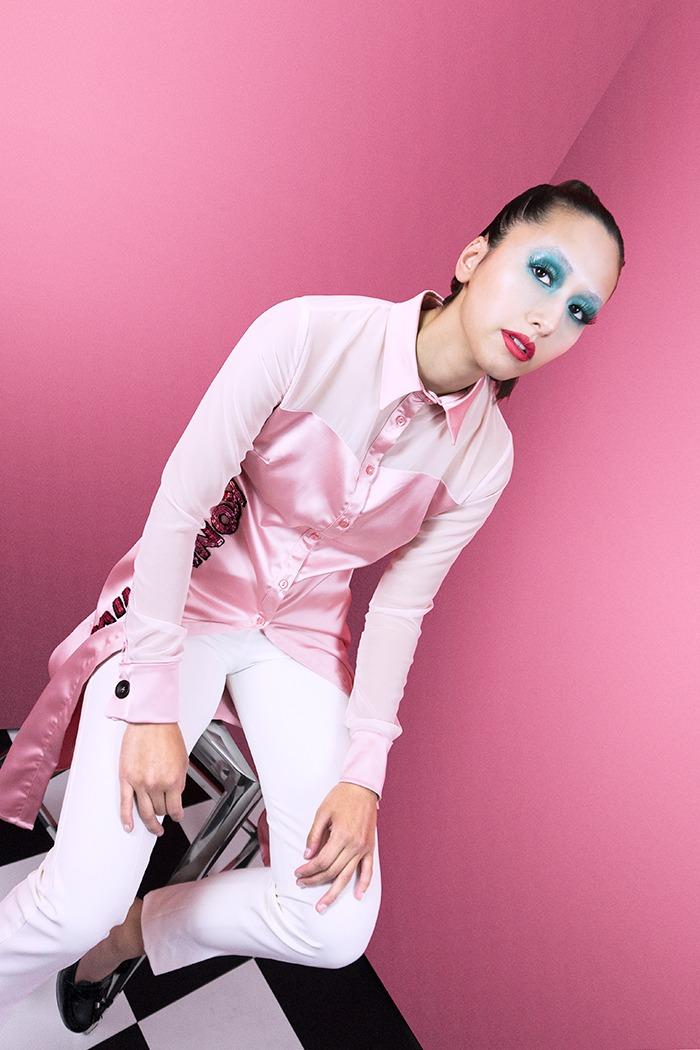 GRANDI pink shirt dress