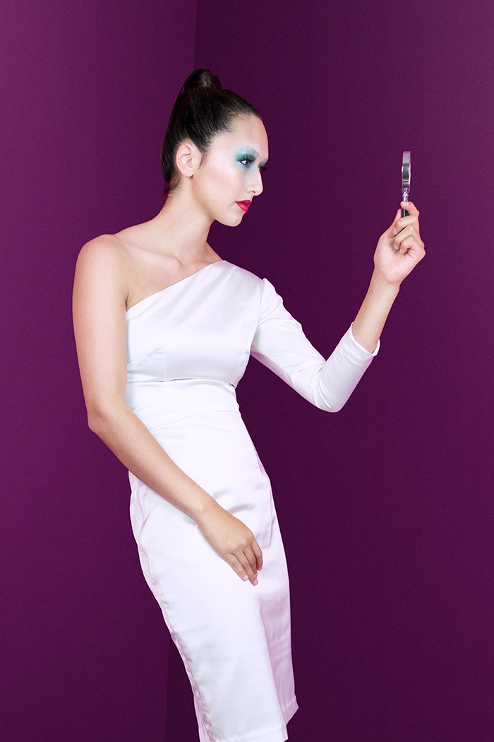 GRANDI white one shoulder long sleeve dress
