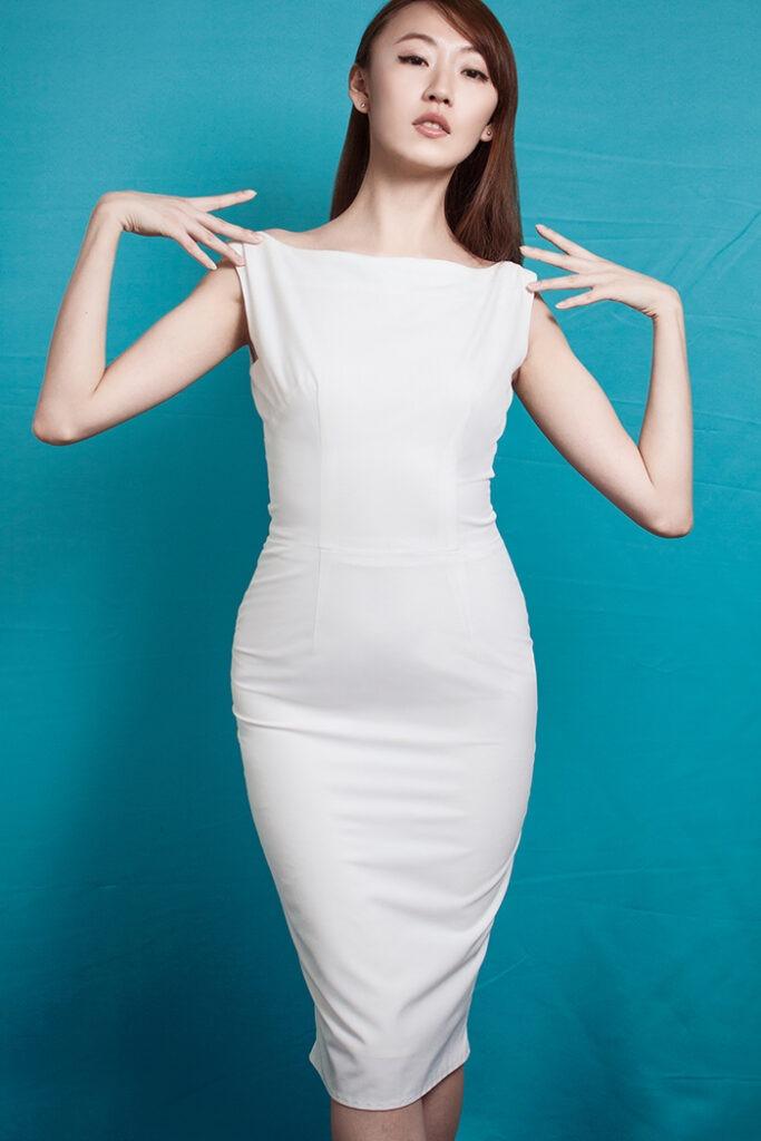 GRANDI open back boat neck white sheath dress