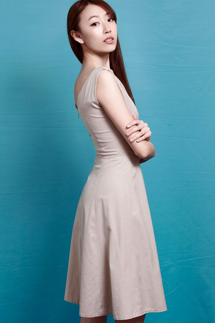 GRANDI low back a line taupe day dress