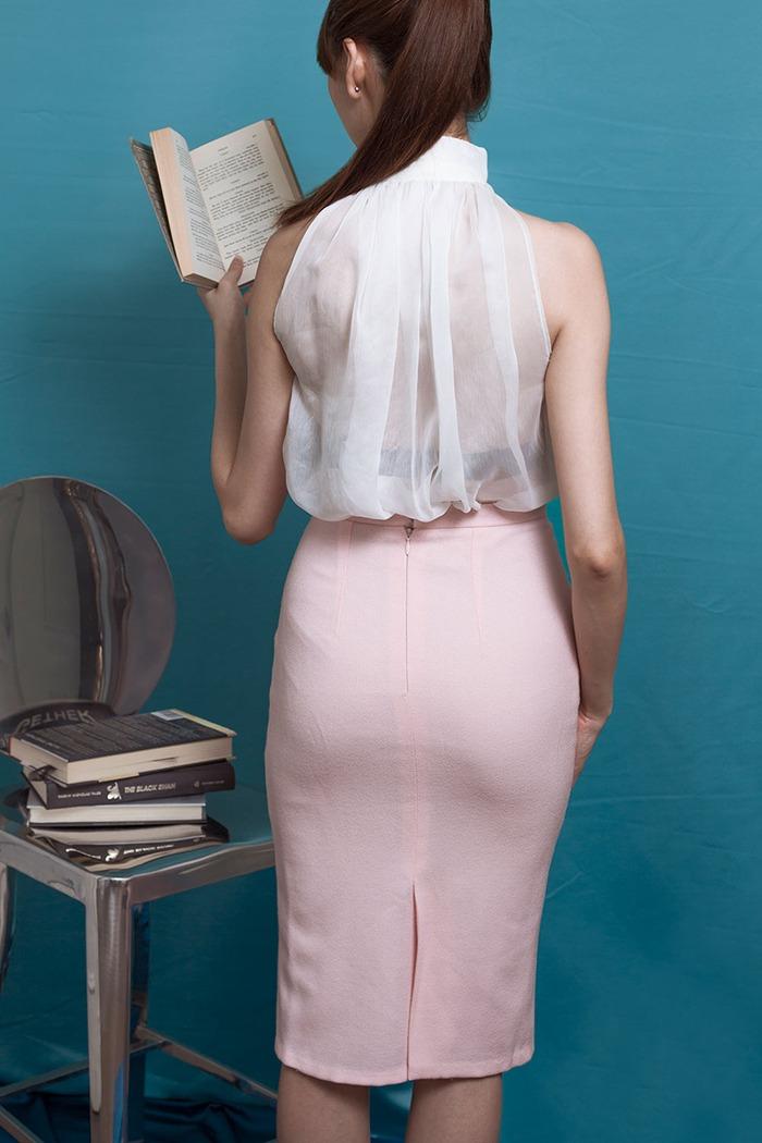 GRANDI white high neck chiffon blouse pink pencil skirt