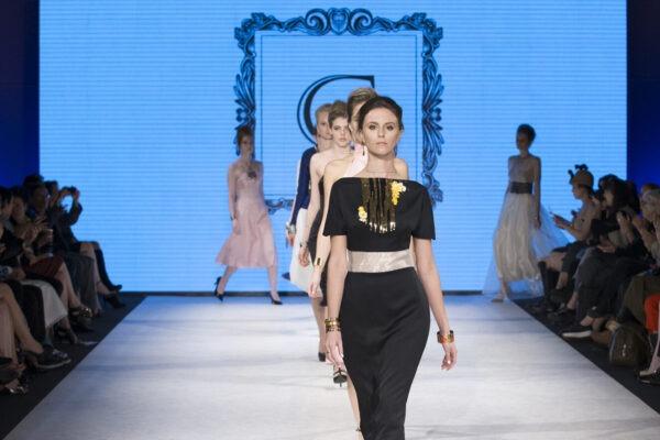 GRANDI runway, black couture dress