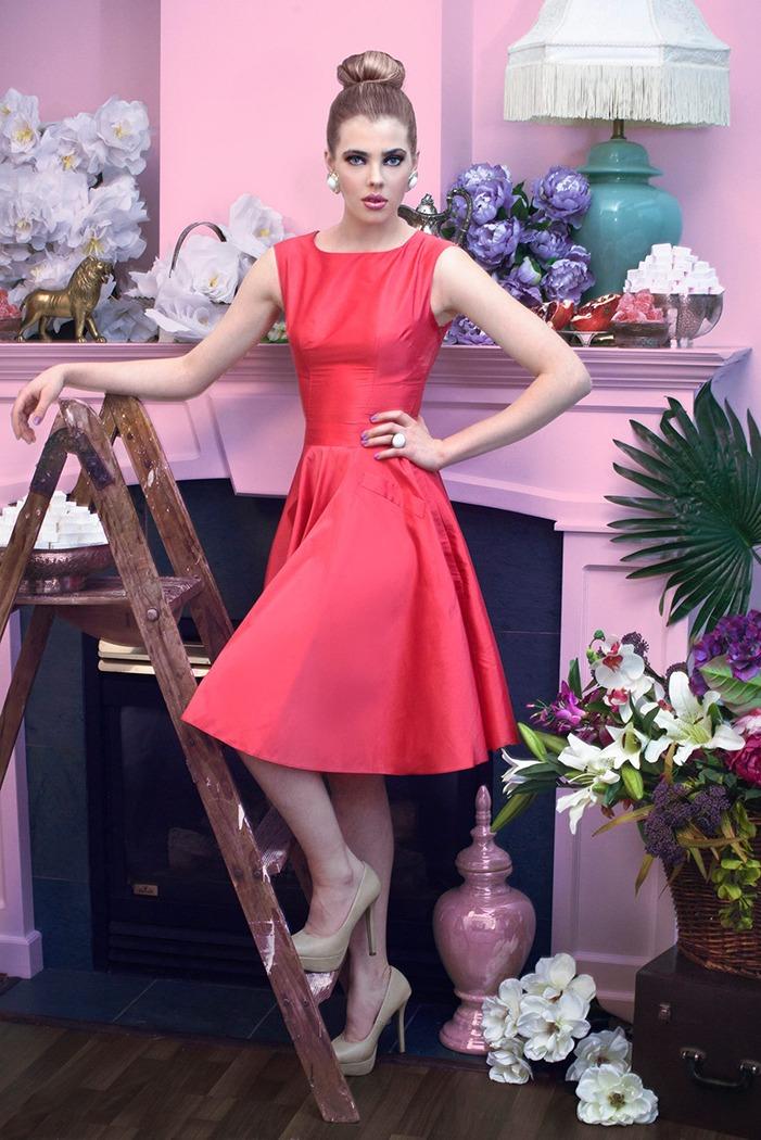 GRANDI tea time retro coral dress