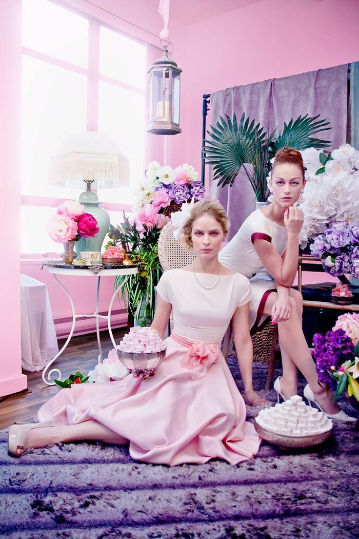 GRANDI tea time pink white full skirt dress