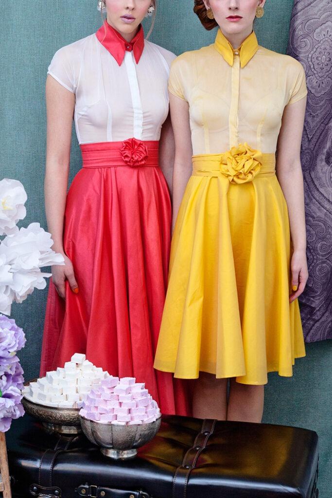 GRANDI tea time full skirt coral yellow dress
