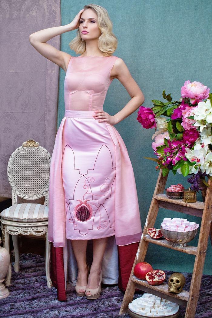 GRANDI tea time pink long short ball gown