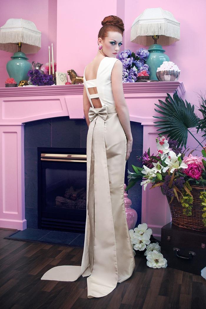 GRANDI tea time open back long tail gown