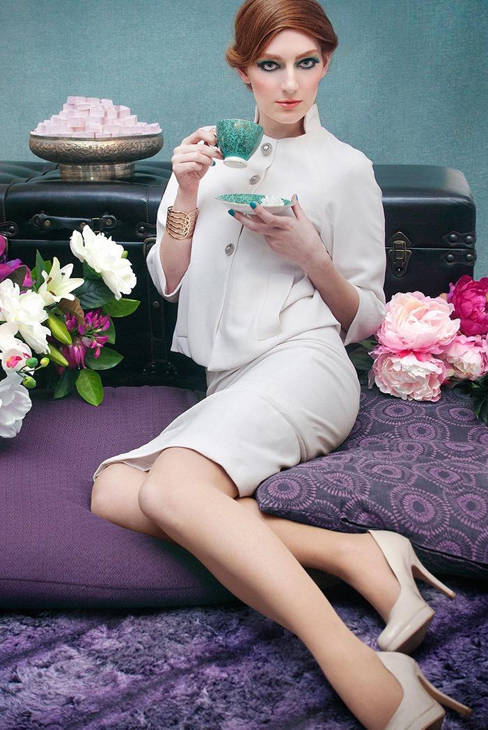 GRANDI tea time white retro suit