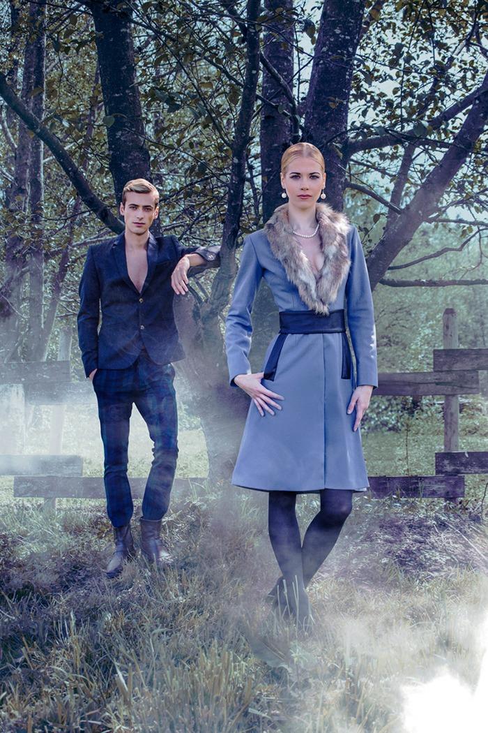 GRANDI fur trim blue winter coat