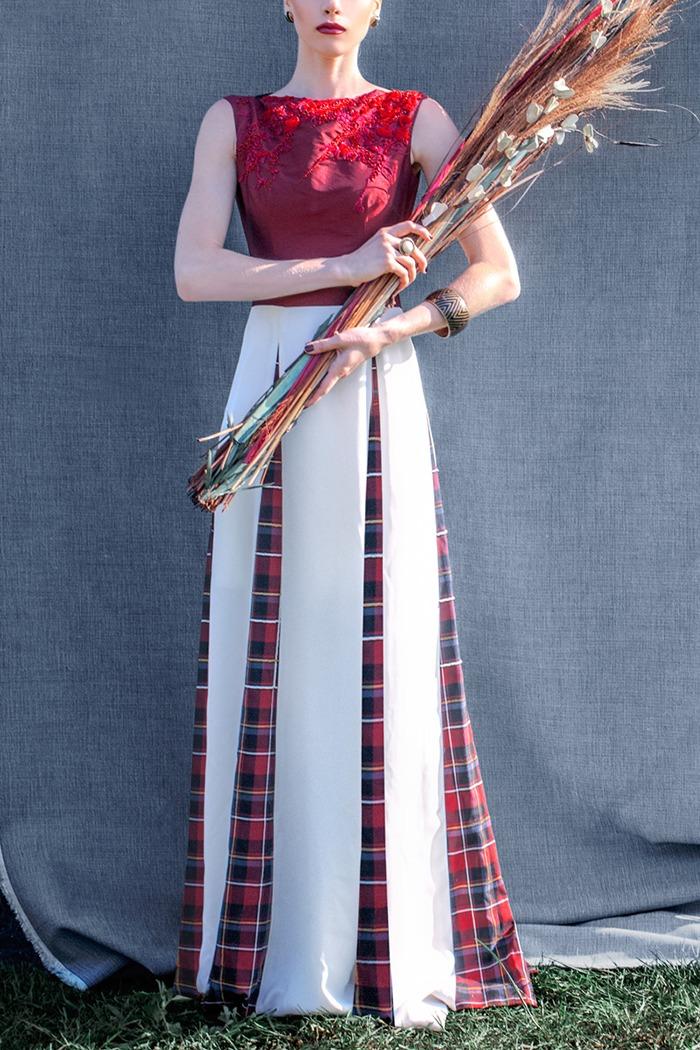 GRANDI red white tartan dress gown