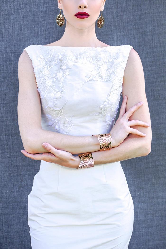 GRANDI white embroidered gown