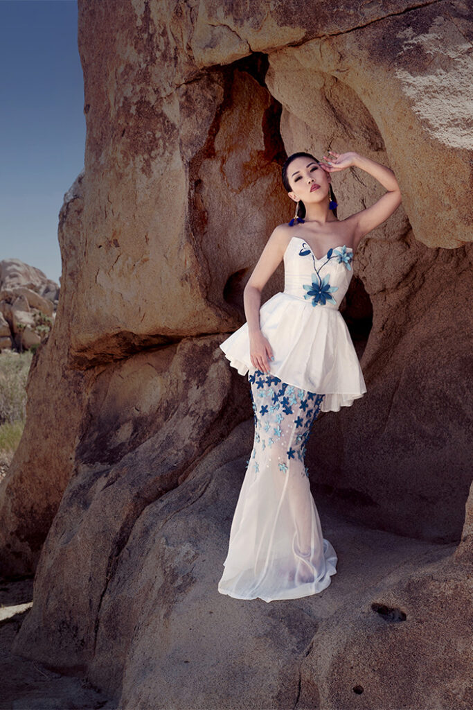 GRANDI strapless white taffeta gown leather flower embroidery