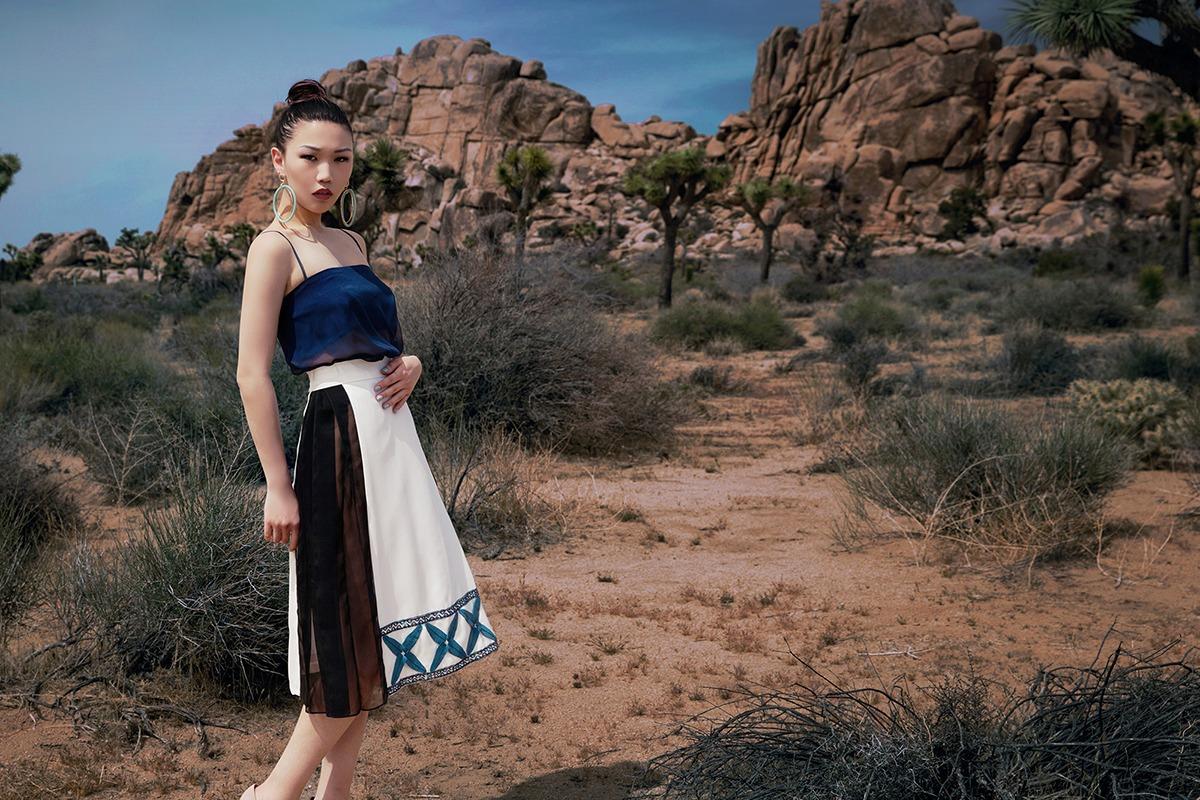 GRANDI desert white skirt leather embroidery chiffon cutout