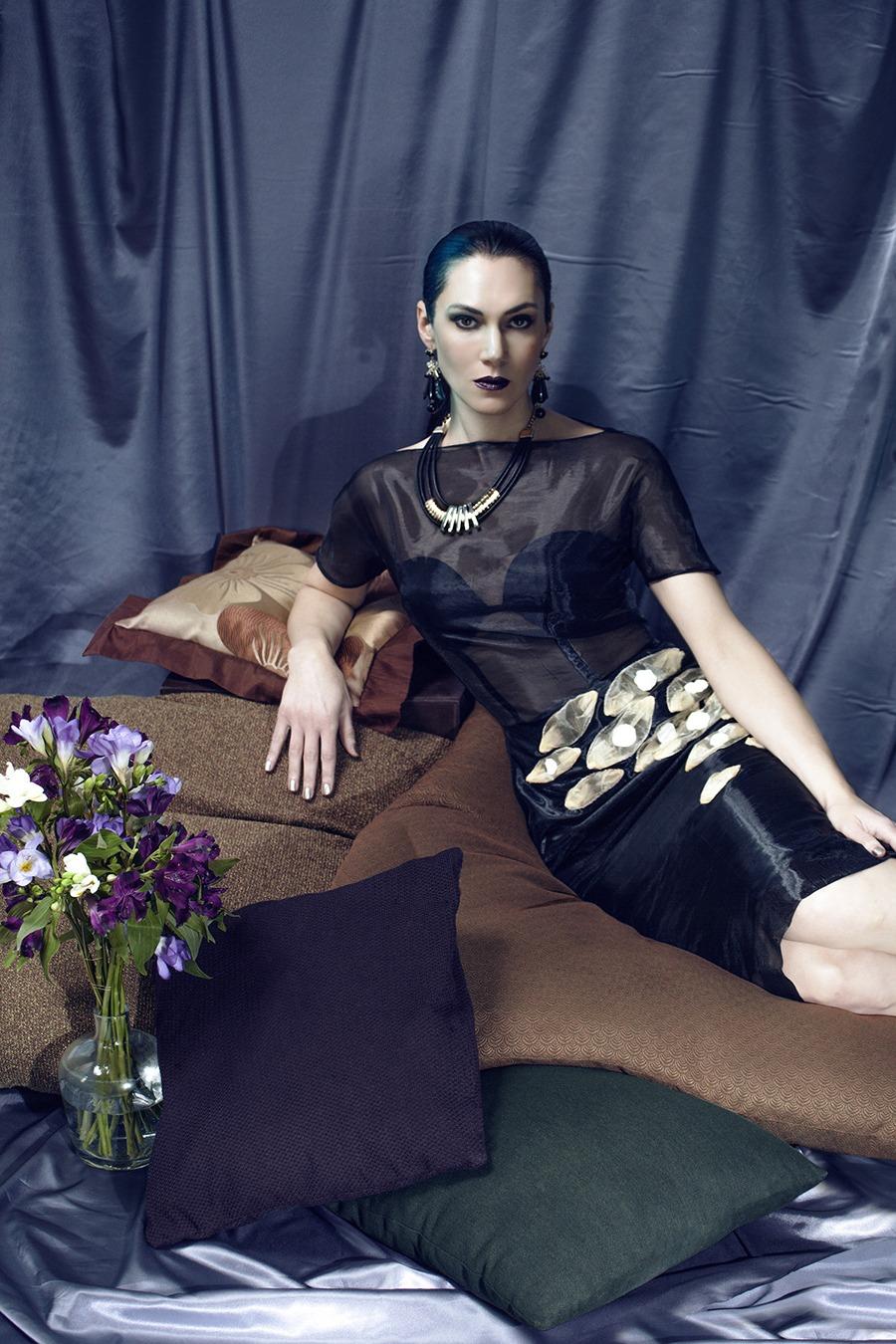 GRANDI Kyra Zagorsky black organza dress