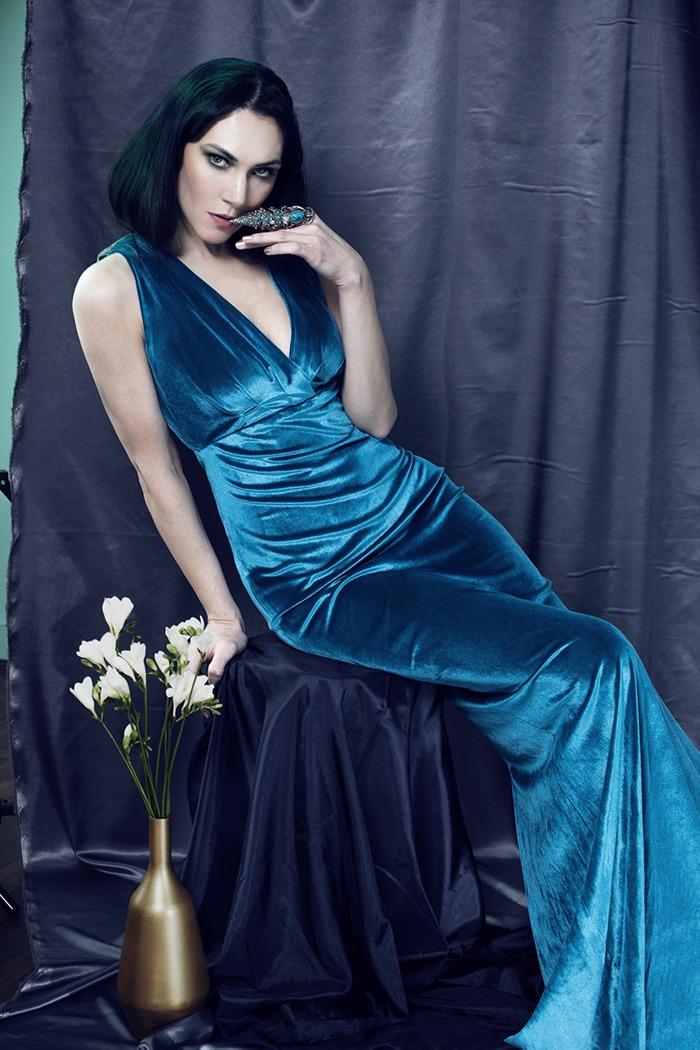 GRANDI Kyra Zagorsky teal velvet Egyptian gown