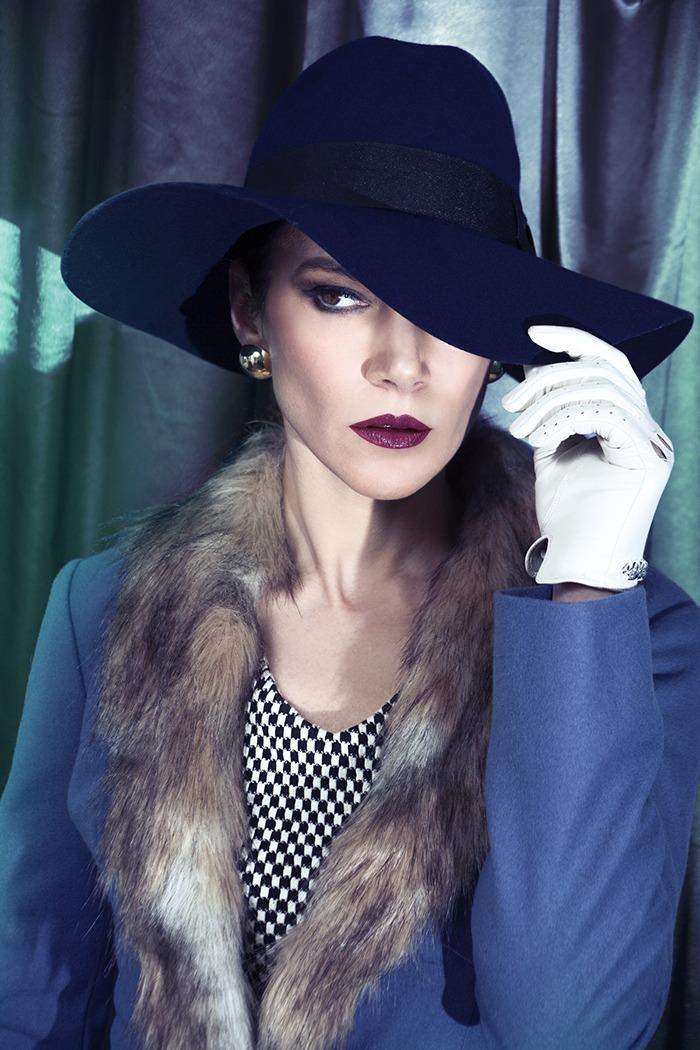 GRANDI Kyra Zagorsky fur trim blue coat