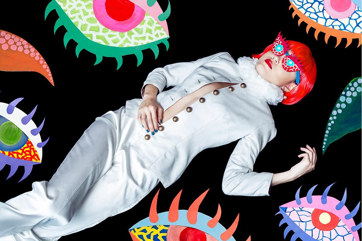 GRANDI art girl Yayoi Kusama white suede jacket white satin pants
