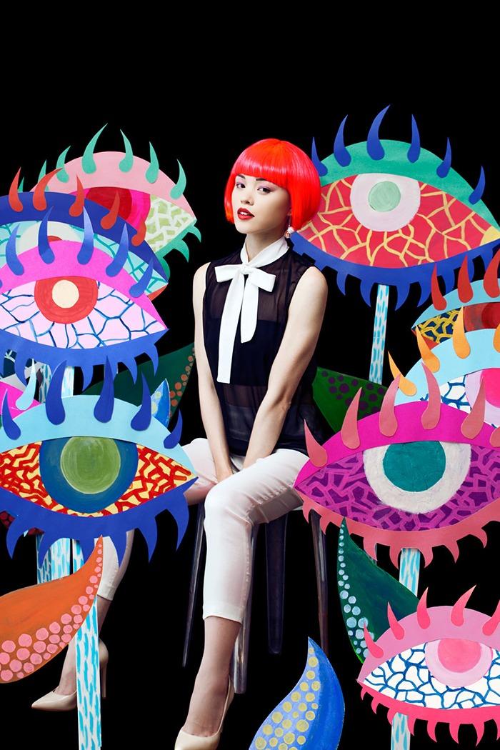 GRANDI art girl Yayoi Kusama black chiffon top white pants