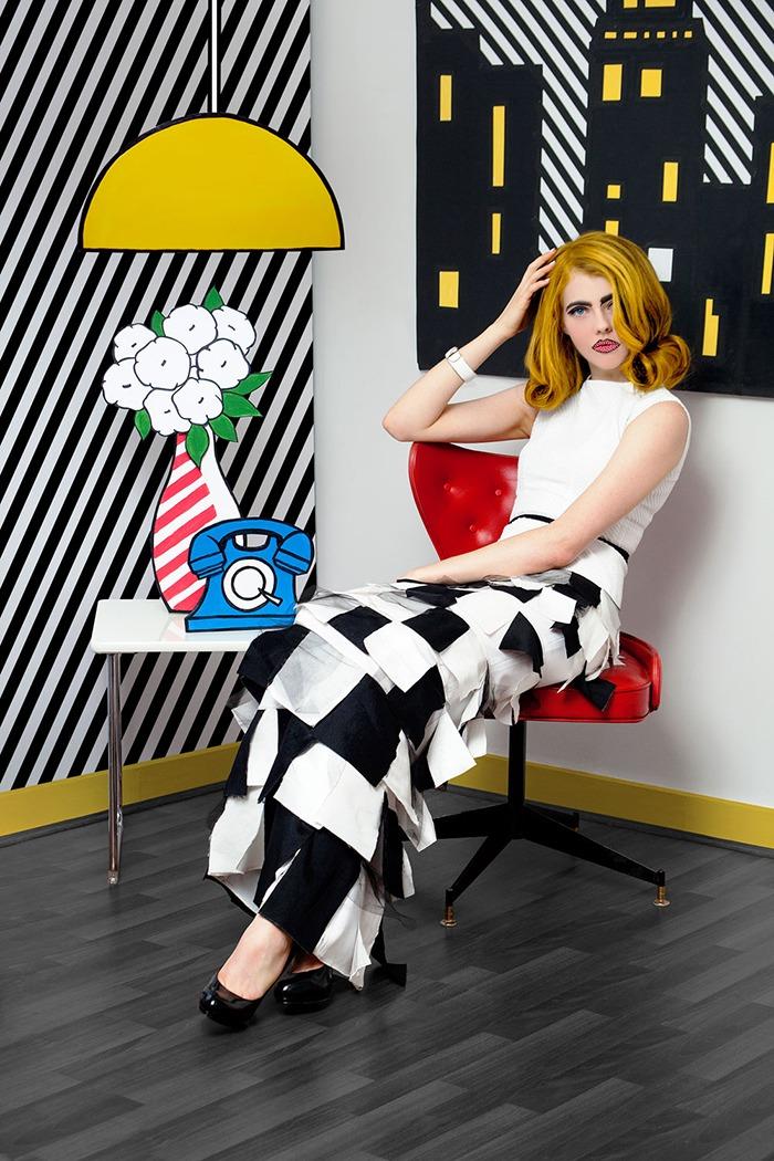 GRANDI art girl Roy Lichtenstein black white checkered gown