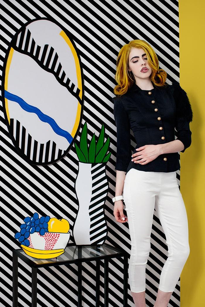 GRANDI art girl Roy Lichtenstein black jacket white pants