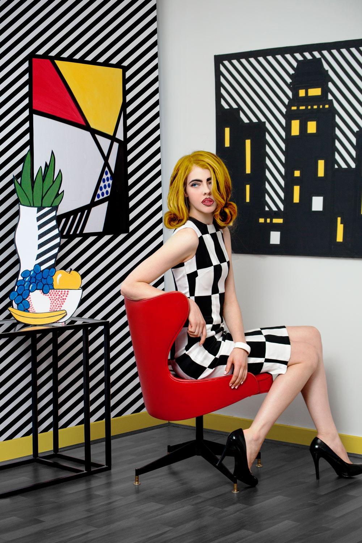 GRANDI art girl Roy Lichtenstein black white checkered taffeta dress