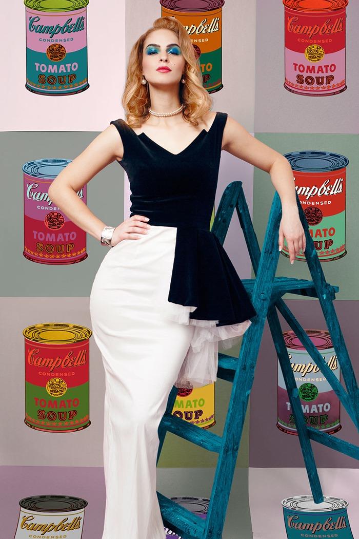 GRANDI art girl Andy Warhol soup asymmetric black white gown