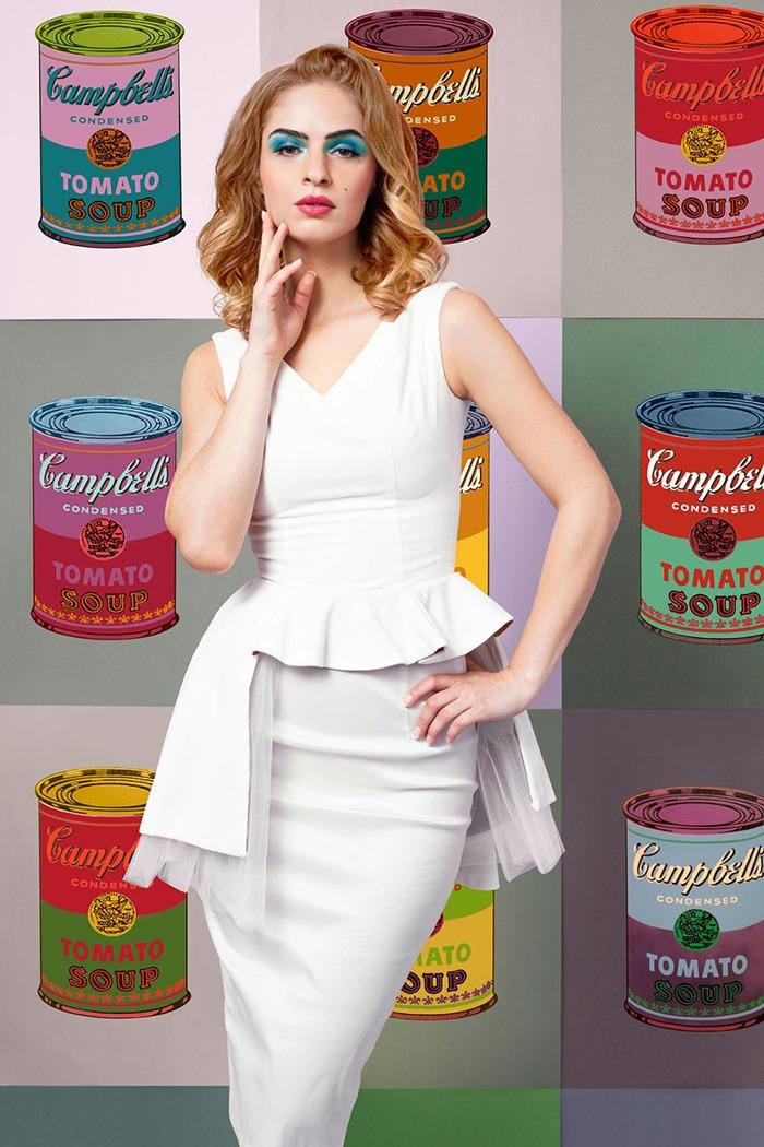 GRANDI art girl Andy Warhol soup asymmetric white gown