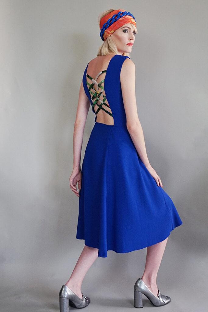 GRANDI art girl royal blue open back dress