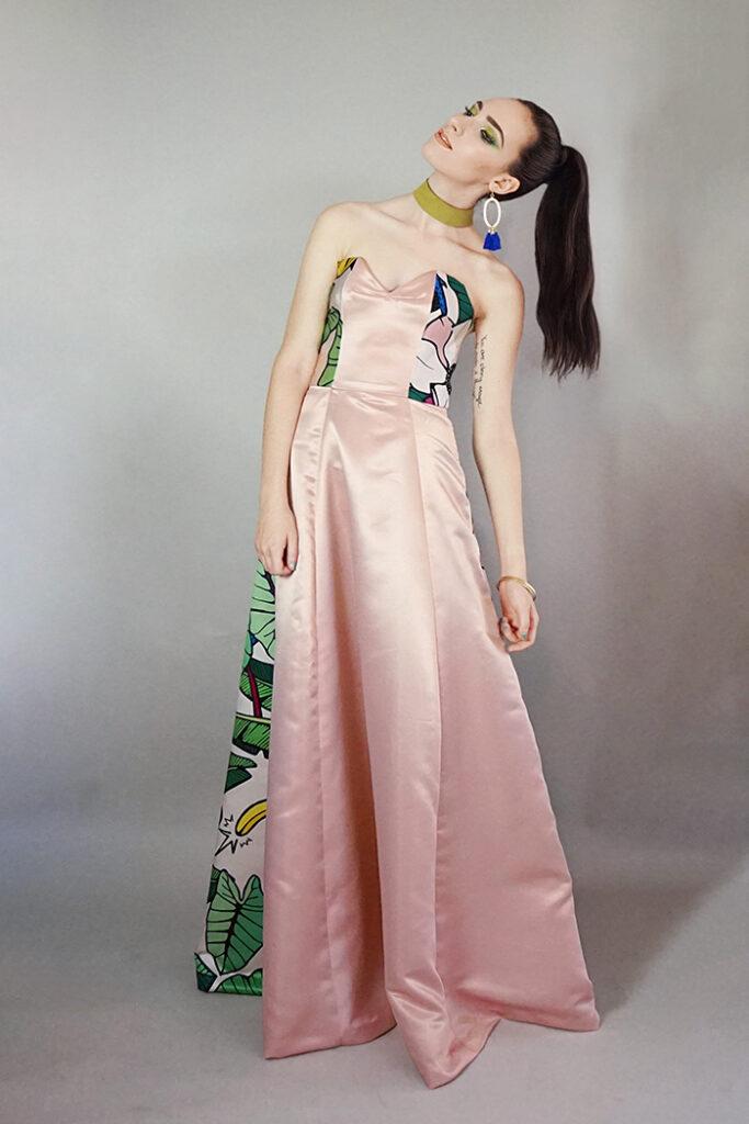 GRANDI art girl strapless pink gown