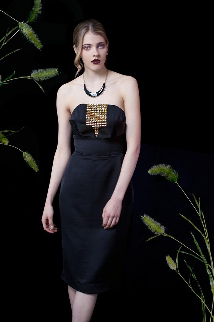 GRANDI art nouveau black gold strapless dress