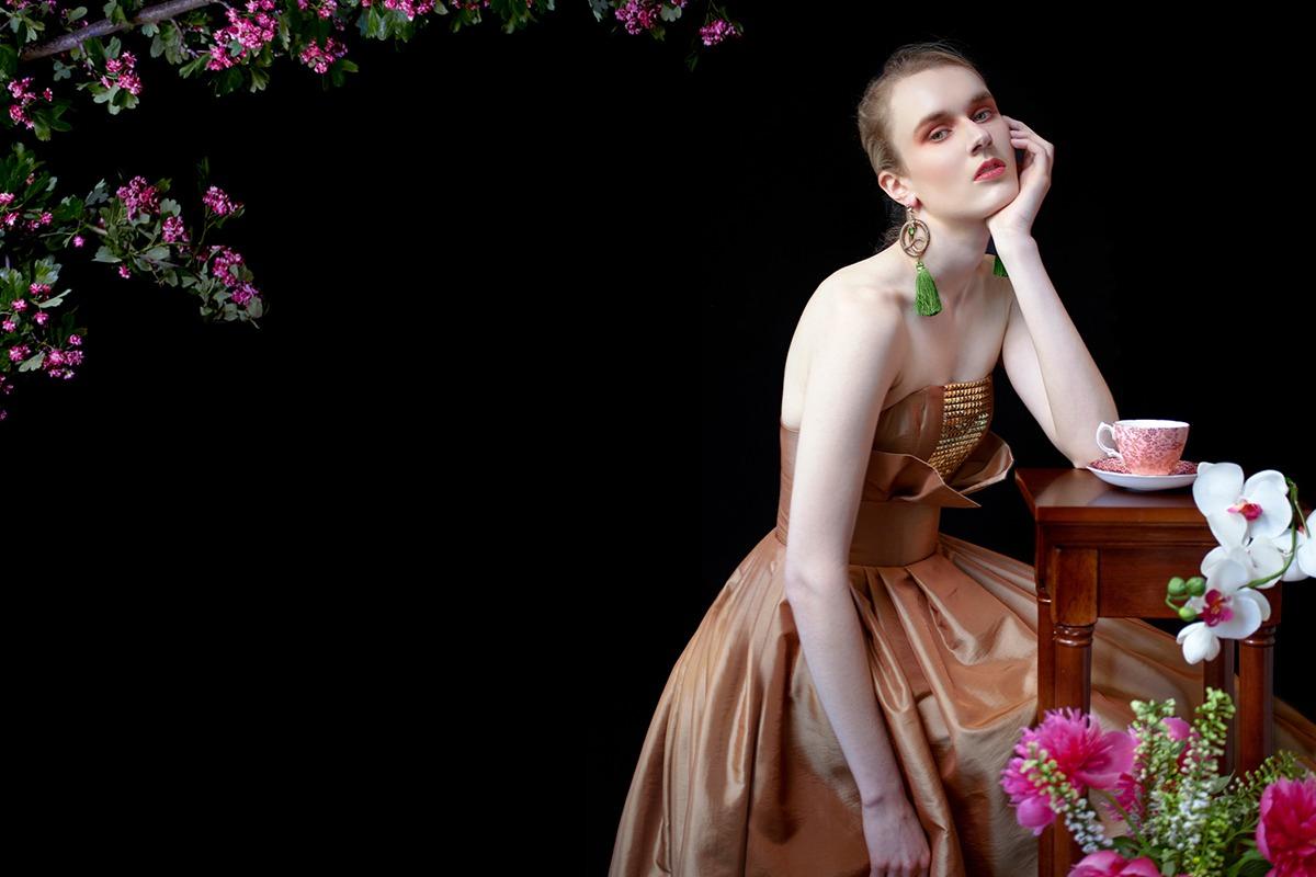 GRANDI art nouveau strapless rose gold gown