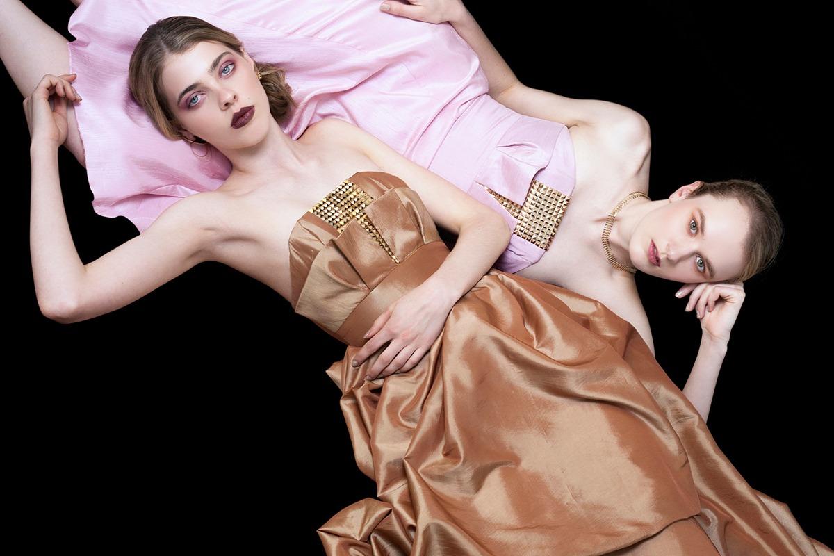 GRANDI art nouveau strapless rose gold pink gowns
