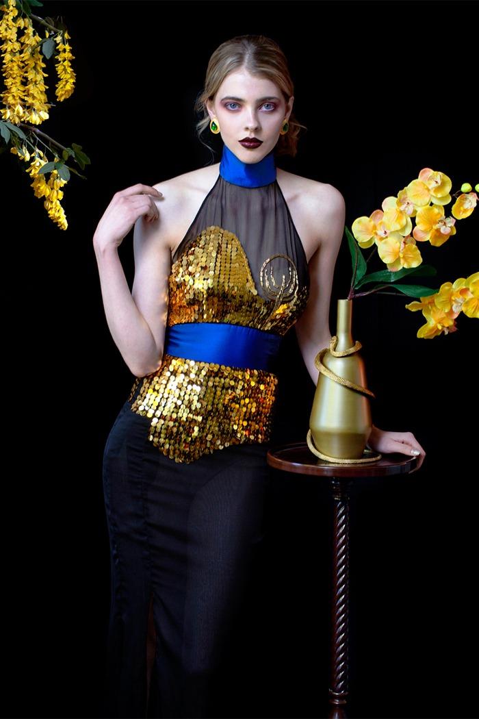 GRANDI art nouveau black gold embroidery high neck chiffon gown