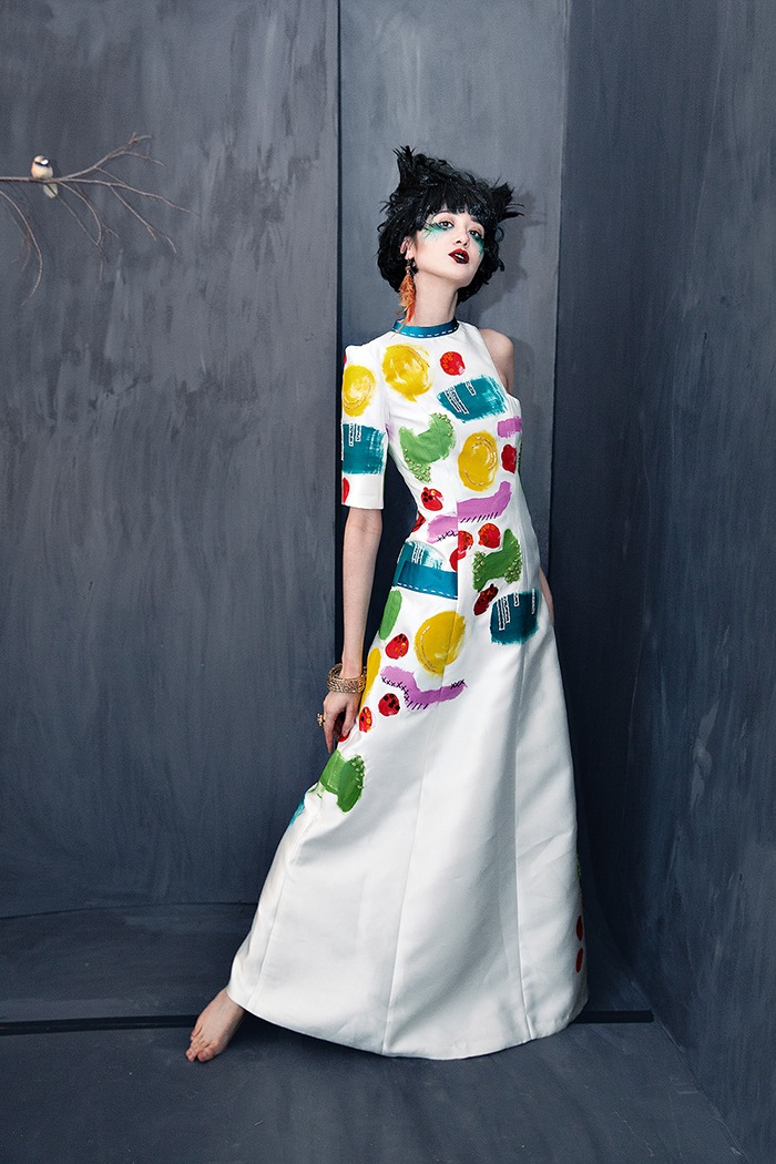GRANDI hand painted quirky artsy gown