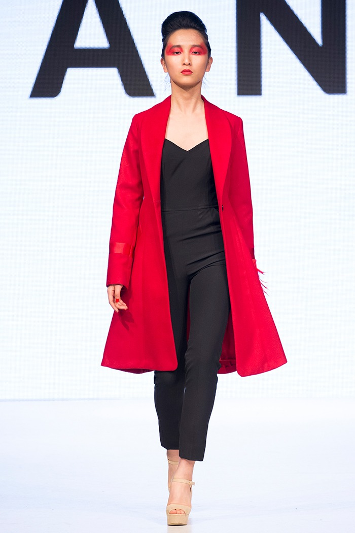 GRANDI Vancouver Fashion Week red feather cuff coat