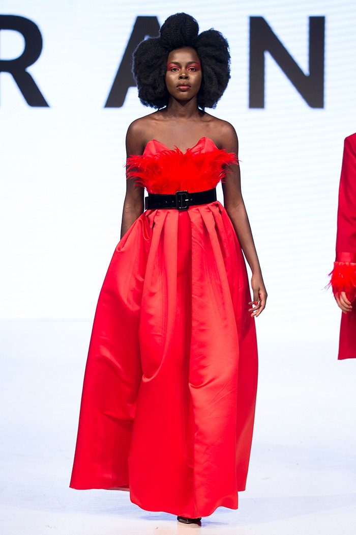 GRANDI Vancouver Fashion Week red feather satin ball gown