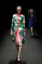 GRANDI Tokyo Fashion Week tropical shirt dress pleated skirt Black iris lenses
