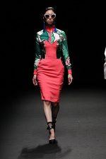 GRANDI Tokyo Fashion Week tropical dress shirt strapless coral dress Black iris lenses