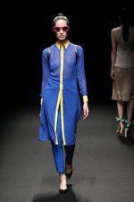 GRANDI Tokyo Fashion Week blue yellow shirt dress Black iris lenses