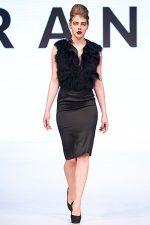 GRANDI Vancouver Fashion Week black feather top black pencil skirt