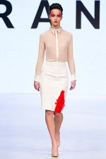 GRANDI Vancouver Fashion Week nude dress shirt white pencil skirt office wear