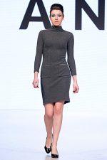 GRANDI Vancouver Fashion Week charcol long sleeve dress
