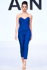 GRANDI Vancouver Fashion Week royal blue strapless jumpsuit