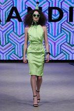 GRANDI Vancouver Fashion Week party girl lime high neck dress Iris lenses