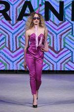 GRANDI Vancouver Fashion Week party girl purple strapless jumpsuit Black Iris lenses