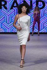 GRANDI Vancouver Fashion Week party girl white one shoulder long sleeve dress Black Iris lenses